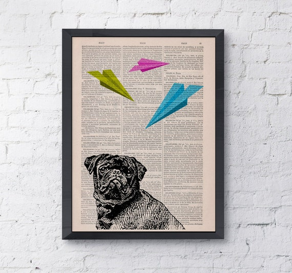 Christmas gifts for her Funny art, Origami puggle Dog, Wall art, Wall decor,   Vintage Book sheet, Nursery wall art, Prints, ANI133