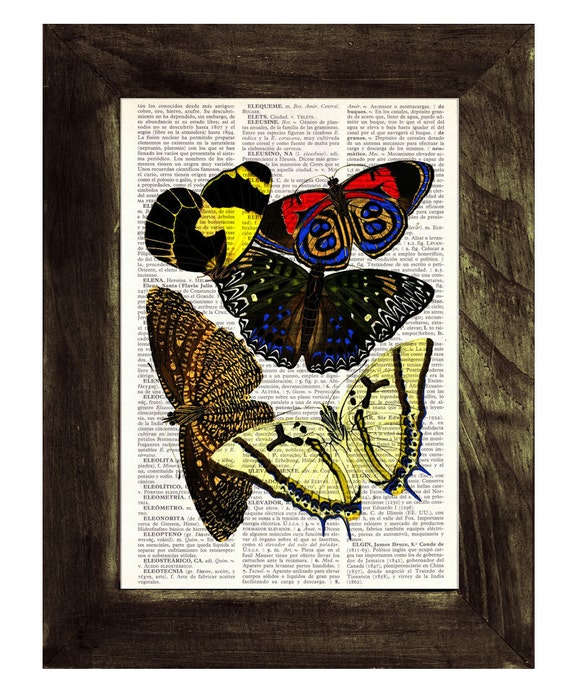 Christmas gifts for mom Butterflies Dictionary Book Print - Altered art on upcycled book pages BFL019