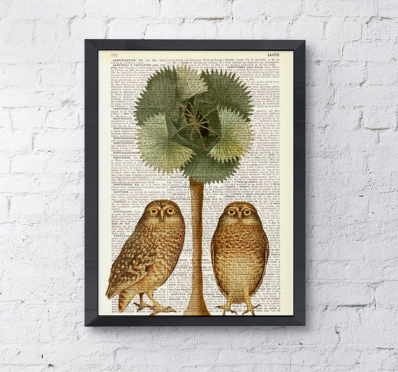 Owls and the palm tree, Owl wall art, Owl deco, Wall art, Wall decor, Digital prints animal, Giclée, Nursery wall art, Prints ANI017