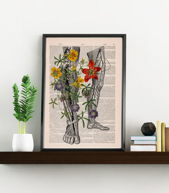 Wild flowers on my legs Wall Decor perfect for gifts  SKA096b