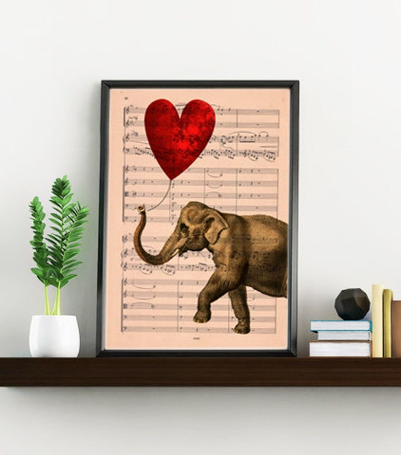 Happiest Elephant in love with red heart balloon wall decor printed on dictionary page the best choice for gifts  ANI083MSM