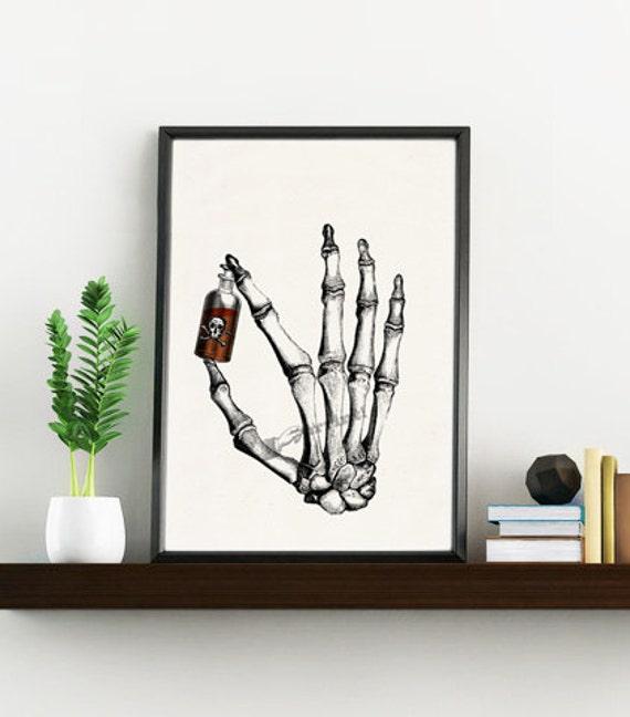 Christmas gifts for mom Hand Bones holding Poison, Anatomy art, Anatomical art, Anatomy, Medical gift, Gift for doctor SKA021WA4