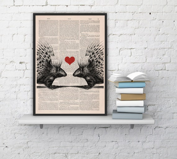 Love Porcupines collage, Wall art, Wall decor,   Vintage Book sheet, Nursery wall art, Prints, Wholesale ANI069