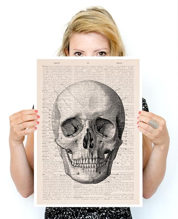 Human skull Poster,  Anatomy art, Wall art, Wall decor, Poster print, Medical student gift SKA011PA3