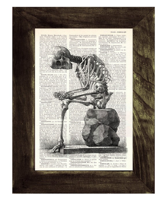 Upcycled Dictionary Page- Skeleton anatomy print on Upcycled Book - Gothic gift SKA010