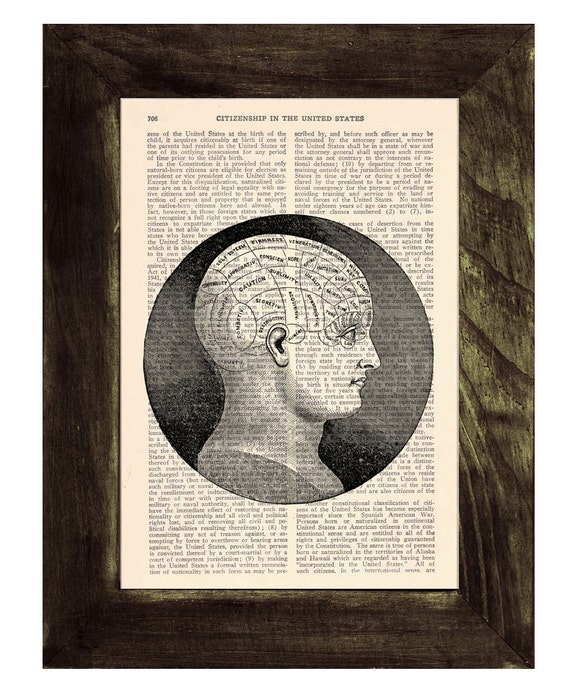 Upcycled Dictionary Page Upcycled Book Art Upcycled Art Print Book Print Vintage Art Print Brain  SKA045