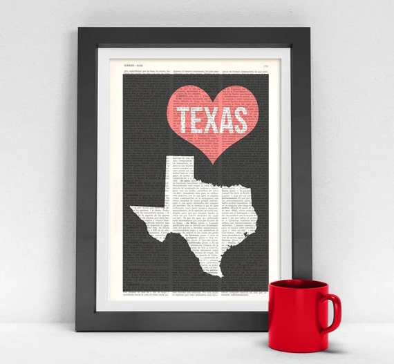 Christmas gifts for her Texas State Vintage Book Print United States of America Wall Art Print on Vintage Book TVH087