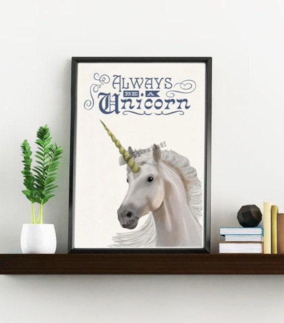 Christmas gifts for mom Always be a Unicorn Wall art home decor gift, grils room,unicorn geek wall art, Girl gift Unicorn  ANI221WA4