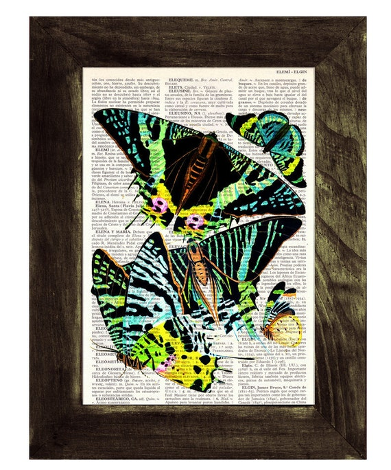 Neon Butterflies collage Dictionary Book Print - Altered art on upcycled book pages BFL030