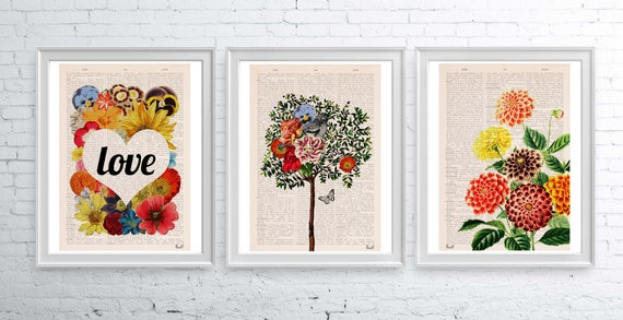 Gift SALE this Three Book page reproduction A3 sized posters ONLY fifty dollars -Dorm decor, wall art nursery decor  SET015