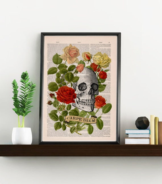 CARPE DIEM quote, Skull Print. Skull and roses Vintage Dictionary Book, gift him, SKA104