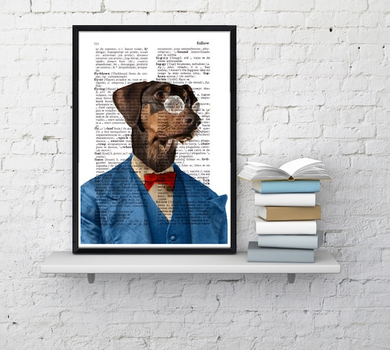 Christmas gifts for her Dachshund in blue suit, Wall art, Wall decor,   Vintage Book sheet, Nursery wall art, Prints, Funny art, ANI132