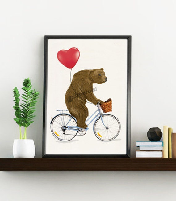 The Grizzly Bear riding a bike Wall art decor ANI222WA4