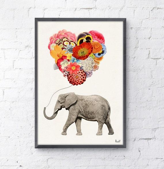 Elephant with a heart shaped balloon of Flowers- Love print- Elephant decor Nursery art, white print art gift her ANI102WA4