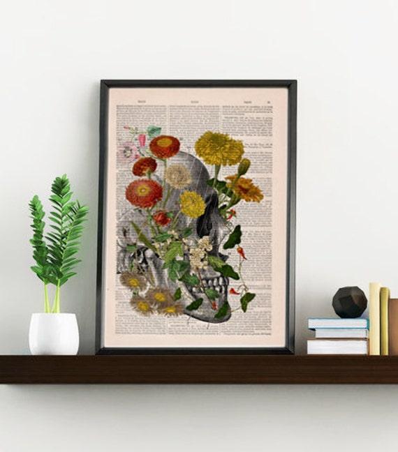Decorative Art, Flowers on Skull ,Nature Inspired Print, Decorative Art, Wall hanging Skull print, Art flowers  SKA094