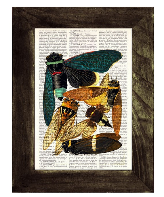 Christmas gifts for mom Moths Dictionary Book Print - Altered art on upcycled book pages BFL020