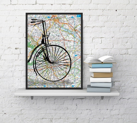 Christmas gifts for her Old bike detail on Original France Roads Map, Vintage Print, Art Print map, Bike art, Vintage map, Wall art,  TVH001