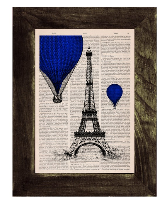 Eiffel Tower, Blue Balloons Ride Print on Vintage Book, France art, Wall art, Wall decor, Home decor,  TVH028