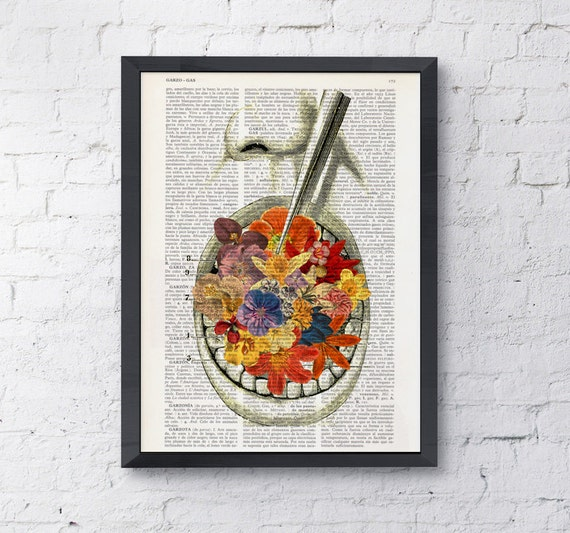 Art Print Flowery breath, Wall art print, office decor gift, doctor gift, wall art, anatomy art,dictionary SKA058