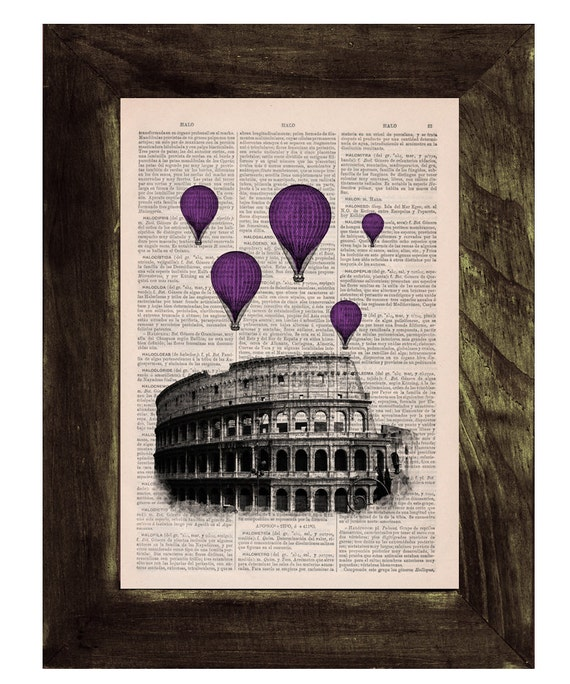 Christmas gifts for her Purple balloons over Rome, Rome Colosseum Balloon Ride, Wall art, Wall decor, Home decor TVH040