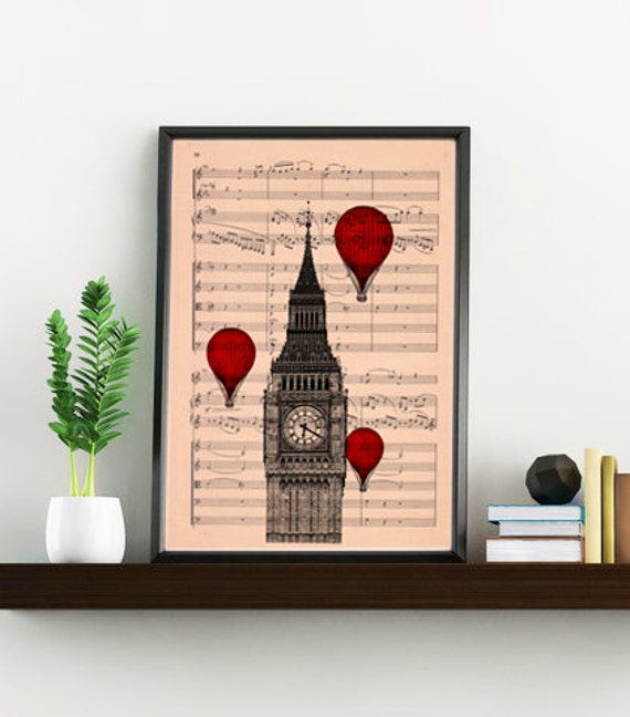 Christmas gifts for her Big ben London Music sheet art, England art print, Wall decor music sheet art, music sheet London art TVH009