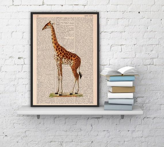 Giraffe, Wall art, Wall decor, Digital prints animal, Giclée, Vintage Book sheet, Nursery wall art, Prints, Giraffe prints,  ANI011