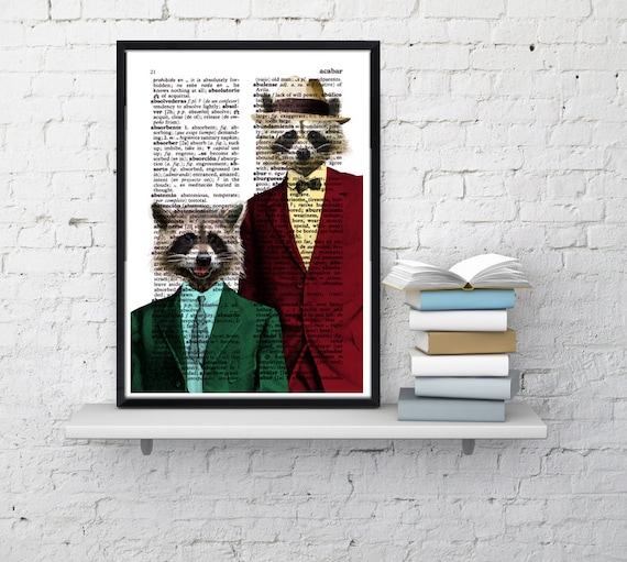Racoon Pals Wall decor, Unique Gift Coon pals Coons with suit wall hanging funny poster wall dcorative art  ANI169