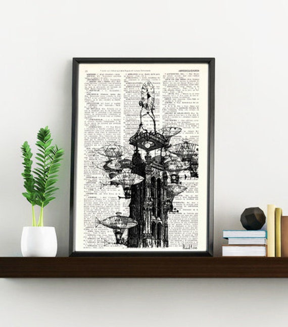 Christmas gifts for her Fish hot air  Balloon Old times Clock Print on Vintage Book art, Wall art, Wall decor, Home decor  TVH138