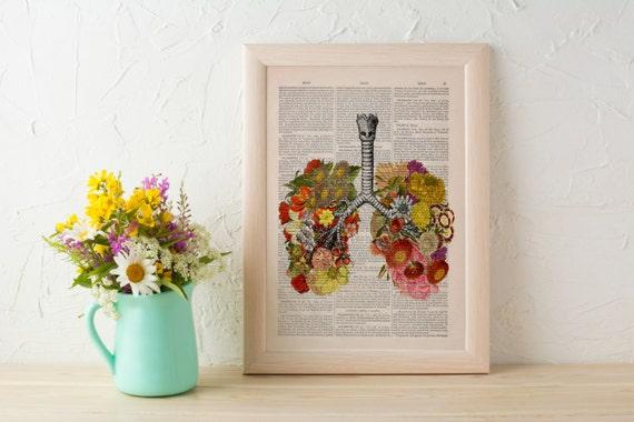 Flowery Lungs human Anatomy Print on dictionary. Anatomy art, love art, human science  anatomy art, wall decor SKA062