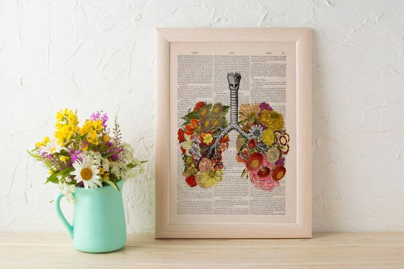 Doctors day gift Flowery Lungs Print  Anatomical Lungs  image 0
