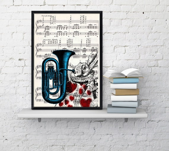 Alice in Wonderland White Rabbit Print on Vintage Music  Sheet ALW020