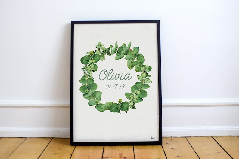 Eucalyptus Wreath Print with Custom Name  New born  Botanical image 0