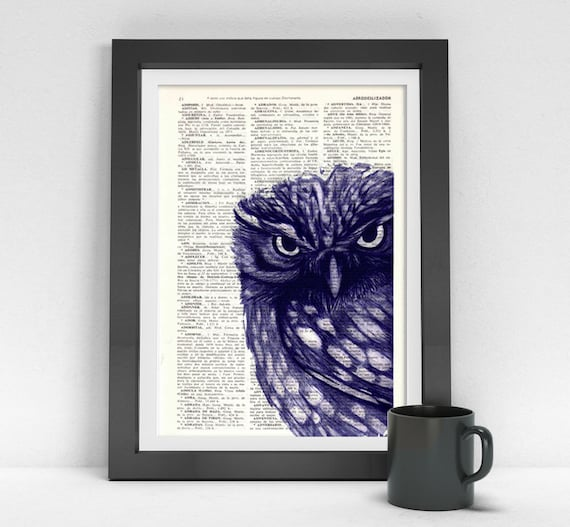 Owl, Wall art, Wall decor,   Vintage Book sheet, Nursery wall art, Prints, Wholesale ANI024