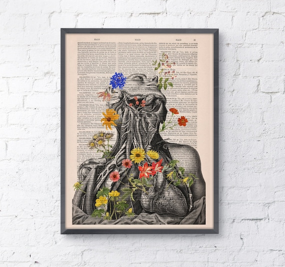 Flowery neck and head collage Printed on Vintage Dictionary Book page perfect for gifts  SKA101b