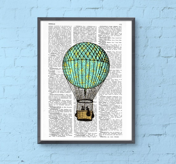 Christmas gifts for her Print Hot air balloon in turquise and yellow, Room decor, Gift, Balloon wall hanging TVH127