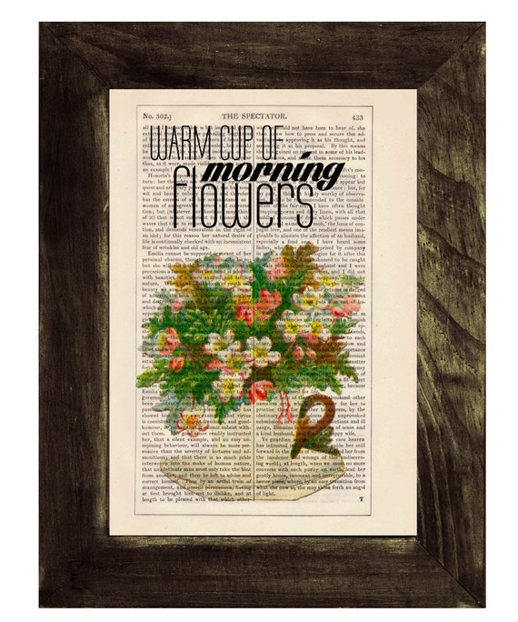Tea cup full of flowers Upcycled book page Art Dictionary  print Home decoration TYQ045
