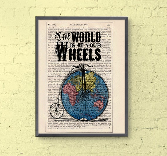 Bikers perfect gift Drawing Illustration Giclee Prints Poster: The world at your wheels, upcycled art  TVH006