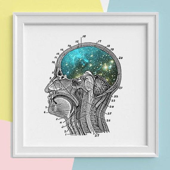 Christmas gifts Galaxy Brain Print wall art Human anatomy print Science student gift Cosmic art print Universe and galaxy prints SKA112SQ1