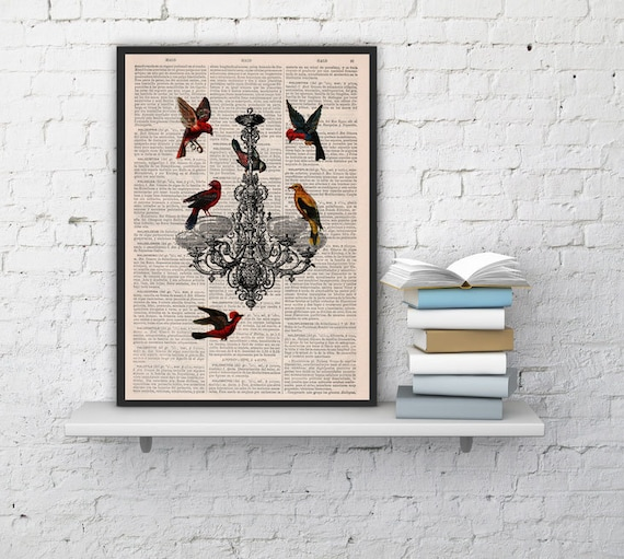 Christmas gifts for her Candelabra Lamp with Birds, Wall art, Wall decor,   Vintage Book sheet, Nursery art, Prints, Wholesale  ANI192