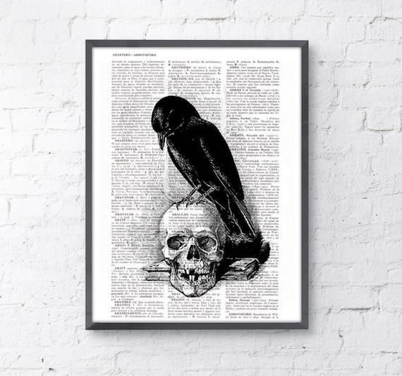 Book Print Vintage Art Print Crow on the skull SKA070