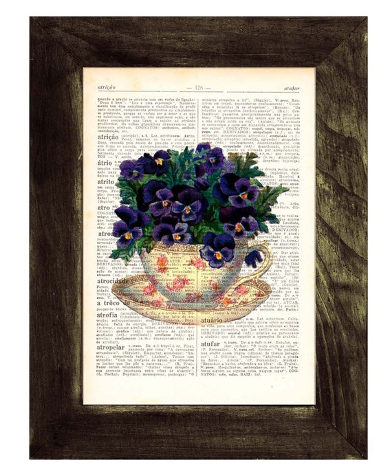 for her Vintage Teacup with pansies bouquet,  Wall art, Wall decor, Prints, Giclée, Vintage book sheet,  TVH133