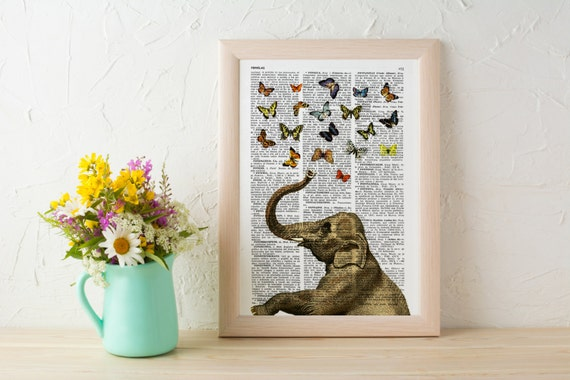 Elephant in love counting butterflies book print wall art, collage Printed on vintage dictionary book page ANI088