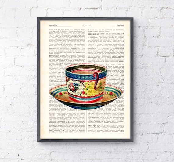 Vintage Teacup print on dictionary book wall art book print TVH074
