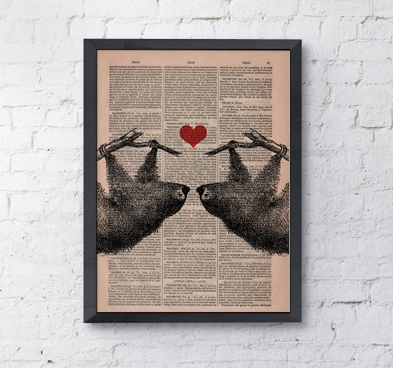 Sloths in love, Sloth couple with Red heart, Wall art, Wall decor,   Vintage Book sheet, Nursery, Prints ANI068