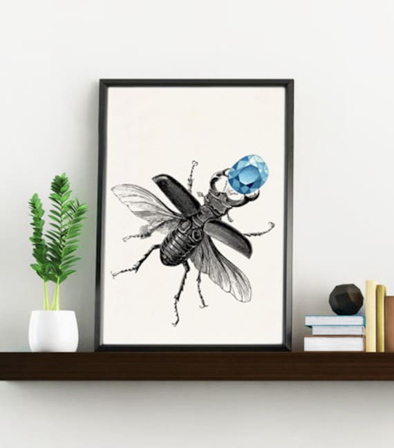 Beetle with topaz collage Home and living wall art ANI244WA4