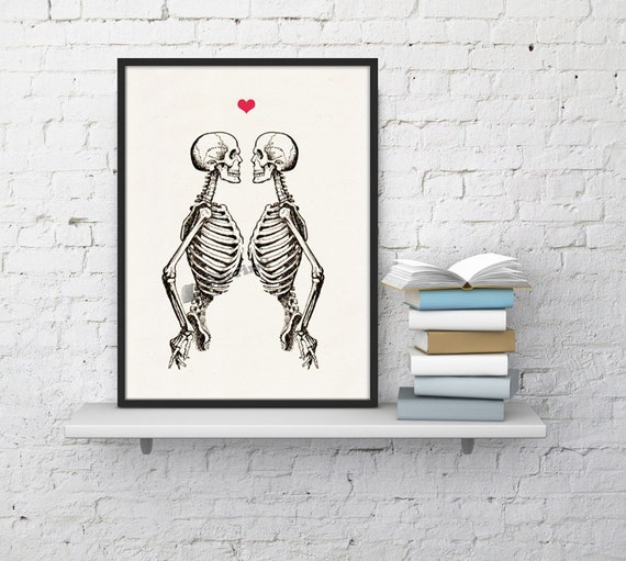 Skeleton Couple Anatomical Wall art decor SKA003WA4