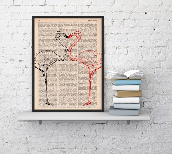 Christmas gifts for her Flamingos in love, Wall art, Wall decor,   Vintage Book sheet, Nursery wall art, Prints, Bird prints,  ANI175