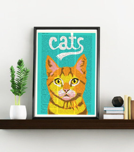 Funny cat, Wall art, Wall decor,   Vintage Book sheet, Nursery wall art, Prints, Funny art, Funny cat,  ANI064