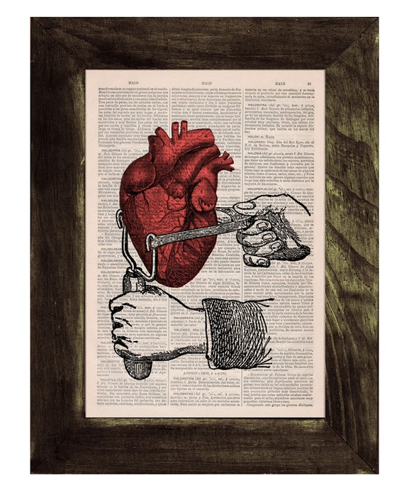 Dictionary Book Print -Occupy your heart-Collage Print on Vintage Book page-Upcycled wall art SKA031