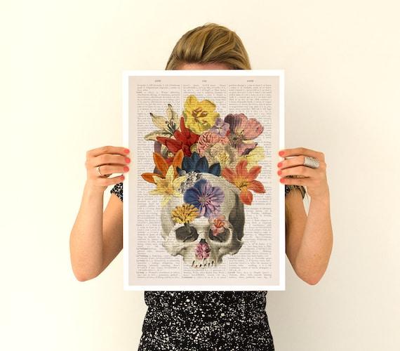 Flowers on skull Poster, anatomical art, Skull anatomy art, Wall art, anatomy art, Giclee poster, wall art, SKA016PA3